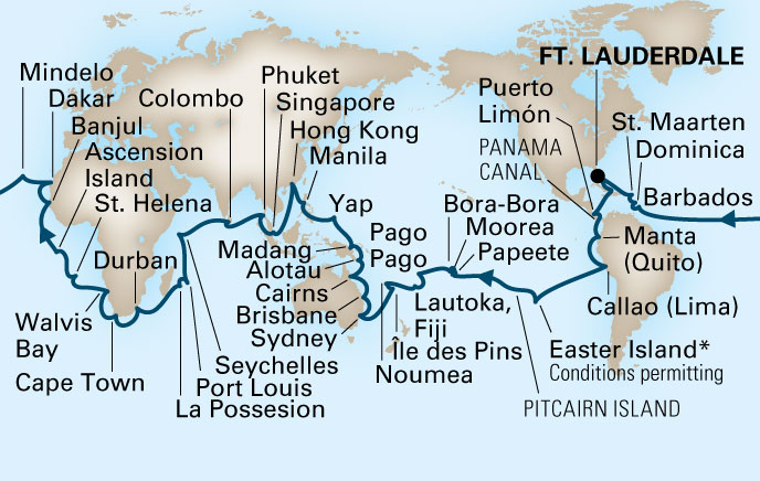 Cruise and Travel Report HAL World Itinerary
